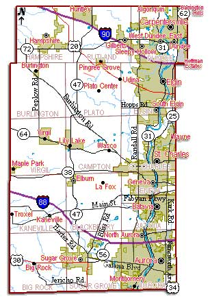 Kane County Map Aurora Township